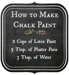 Chalk Paint Furniture - Need ideas for your furniture? - make chalk paint - chalk paint recipe Diy Chalk Paint Recipe, Make Chalk Paint, Chalk Paint Projects, Chalk Paint Furniture, Homemade Chalk Paint, Milk Paint, Chalky Paint, Furniture Makeover, Diy Furniture