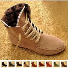Women's Ankle Boots Nubuck Leather Moccasins Lace-Up High top Shoes in Clothing, Shoes & Accessories, Women's Shoes, Boots Women's Flat Ankle Boots, Moccasin Ankle Boots, Ugg Boots, Bootie Boots, Shoe Boots, Ankle Shoes, Calf Boots, Cute Shoes, Me Too Shoes