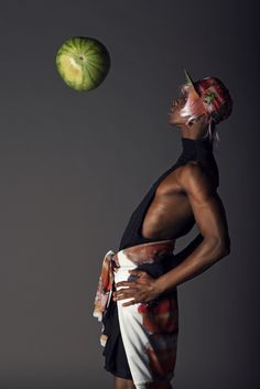 Fruit is the new Black Photographers: Pierre & Florent Model: Yannick@Rockmen MUAH: Eden Tonda DA: Madi Derivery, Aliénor Fontaine Dress: David Berod Sweat: Aloha from Deer Cap: New Era Shoes: Vintage chez Espace Kiliwatch