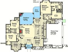 Plan Corner Lot, French Country, European House Plans & Home Designs Total Living Area: sq. House Layout Plans, Dream House Plans, House Layouts, House Floor Plans, My Dream Home, Dream Homes, French Country House Plans, European House Plans, French Country Bedrooms