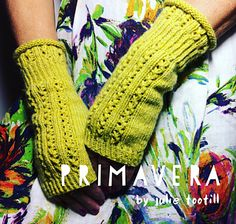 Primavera are fingerless mittens with eyelet lace detail around the cuff, a twisted ribbed wrist and more eyelet lace along the back of the hand. This is a one size pattern which will fit the average women's hand. A slightly smaller or larger sizing could easily be achieved with a different yarn and/or needle size. The mittens are knitted on circular needles using the magic loop method or dpn's if that is your preference.