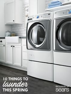 Spring has sprung and there's laundry to be done. Get a head start with a Kenmore Washer & Dryer. Laundry Room Design, Laundry In Bathroom, Laundry Rooms, Kenmore Washer, Devine Design, Things To Do At Home, Fresh And Clean, Head Start, Home Hacks