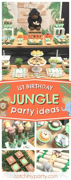 Check out this awesome Jungle themed 1st birthday party! The cupcakes are so cute!! See more party ideas and share yours at CatchMYParty.com #party #jungle #1stbirthday