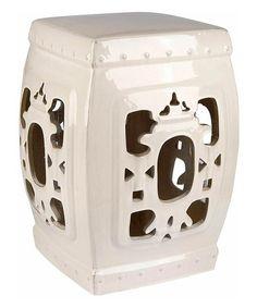 Look at this #zulilyfind! White Glazed Ornate Ceramic Side Garden Stool #zulilyfinds