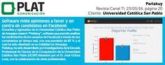 Universidad Católica San Pablo:  Lanzamiento de Parlakuy en la revista Canal TI de Perú (23/05/16)