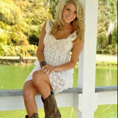 Love this lace dress with cowgirl boots!