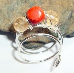 Coral and Citrine Gemstone Ring $25