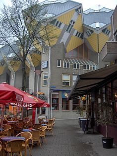 Streetside cafe and cube houses in Rotterdam, The Netherlands--wonder what they look like inside