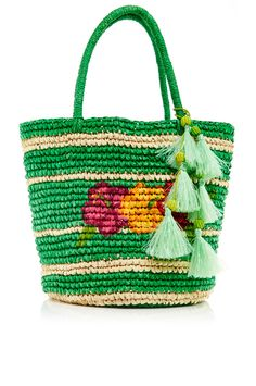 Shop Hand Painted Hibiscus Tote with Tasseled Charms. Guyaquil, Ecuador native Stephany Hollihan de Sensi-Contugi brings her country's artisan accessories to an international audience with her luxury accessories line, infused with a modern aesthetic. Straw Handbags, Tote Handbags, Green Purse, Tote Purse, Tote Bags, Knitting Accessories, Hibiscus, Fashion Bags, Hand Painted