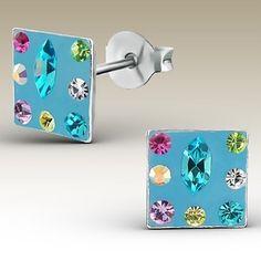 Sterling Silver Blue Square Swarovski Crystal Stud Earrings : JAS Designs Jewellery Online