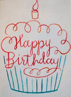 Happy Birthday Watercolor Cupcake Card by ShelbyNickelDesigns - . - Happy Birthday Watercolor Cupcake Card by ShelbyNickelDesigns – - Happy Birthday Doodles, Happy Birthday Cards, Birthday Greetings, Birthday Wishes, Happy Birthday Drawings, Happy Birthday Chalkboard, Happy Doodles, Creative Birthday Cards, Birthday Card Sayings
