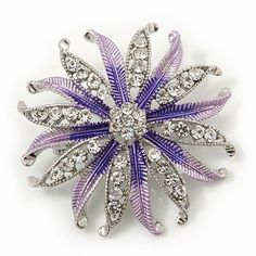 Pale Lavender/ Violet Enamel Diamante 'Flower' Brooch In Silver Plating - 4.5cm Diameter Avalaya. $13.50. Metal Finish: silver plated; Gemstone: diamante; Material: enamel; Theme: floral; Occasion: mothers day, cocktail party, casual wear
