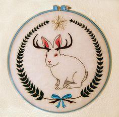 pretty jackalope embroidery