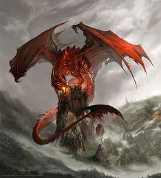 Red Dragon illustration - digital art by Alector Fencer Fantasy Wesen, Dragon Medieval, Medieval Fantasy, Dragon Rouge, Cool Dragons, Dragon Artwork, Cool Dragon Drawings, Dragon Pictures, Fire Dragon
