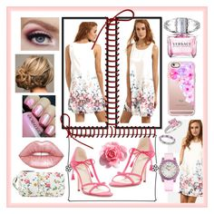 """White Floral Beauty"" by snowflakeunique ❤ liked on Polyvore featuring Chopard, Frances Valentine, Casetify, Lime Crime, Versace, Nine West, Sterling Forever, Allurez, floral and dress"
