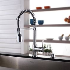 Kraus One Handle Single Hole Kitchen Faucet with Soap Dispenser and Pull Out Sprayer | AllModern