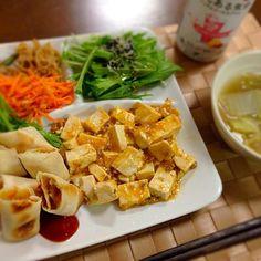 冷蔵庫のあり合わせです〜中華風プレートになりました。 ・麻婆豆腐 ・春巻き←冷凍 ・水菜とじゃこのサラダ ・れんこんきんぴら ・人参サラダ - 16件のもぐもぐ - 晩御飯 10.05 by ちさと