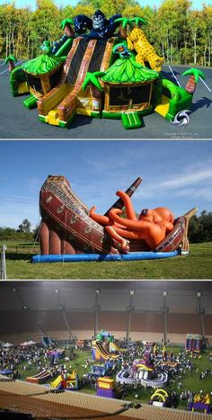 This company provides party inflatable rentals. They offer inflatable game, bouncer and water slide rentals for picnics, corporate events, church festivals and others. Inflatable Rentals, Inflatable Water Park, Inflatable Bounce House, Water Slides Backyard, Backyard For Kids, Water Slide Rentals, Cool Pool Floats, Party Inflatables, Bouncy House