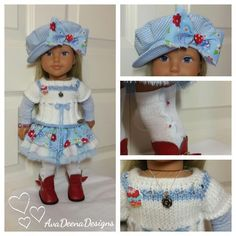 Complete Spring  outfit  clothes for 18 inch doll - american girl doll
