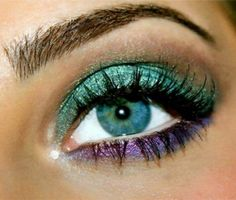 Purple and teal eye makeup #vibrant #smokey #bold #eye #makeup #eyes