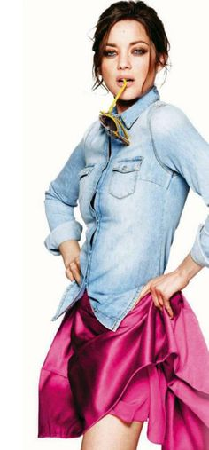 marion cotillard in elle south africa mixing denim and silk like a champ