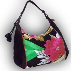 Japanese Obi Over Size Hobo Bag - Black - Large Magenta Peony with Diamond Shape by Kazuenxx on Etsy