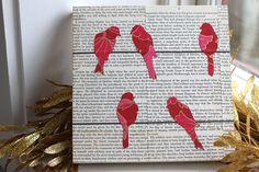 Items similar to Bird on a Wire Art over Vintage Text, Fuchsia Birds on a Wire Wall Art, Bird Art, Bird Nursery Art, Art With Text on Etsy Bird Skull Tattoo, Black Bird Tattoo, Fly Drawing, Newspaper Art, Love Wall Art, Diy Bird Feeder, Bird Theme, Craft Free, Bird Patterns
