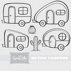 Retro Campers Vector Illustrations - 24 images, Color & Line Art - AI EPS PNG…