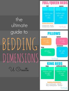 The Ultimate Guide to Bedding Dimensions -great for when you're sewing your own!