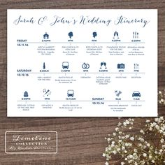 Printable Wedding Timeline Day Of Itinerary Schedule Card - three lines, 5 x 7, multi day, weekend by RachelsPrintables on Etsy https://www.etsy.com/au/listing/242519264/printable-wedding-timeline-day-of