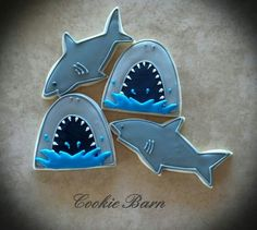 Shark Fish Ocean Decorated Sugar Cookies by CookieBarn on Etsy Shark Cupcakes, Shark Cookies, Fish Cookies, Cut Out Cookies, Iced Cookies, Shark Cake Pops, Cookie Designs, Cookie Ideas, Sprinkles