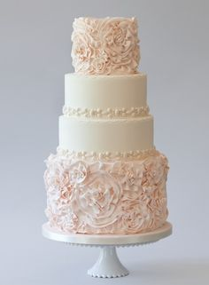 Blush pink and white wedding cake