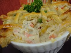 homemade chicken pot pie using puff pastry for the crust.  Includes a recipe for chocolate filled puff patry to use of the leftover pastry.