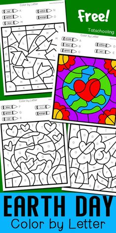 FREE printable Earth Day themed worksheets for pre-k and kindergarten kids to practice the alphabet and letter recognition while having fun coloring the sheets! Great Earth Day no-prep activity for kids! Earth Day Worksheets, Earth Day Activities, Earth Day Kindergarten Activities, Recycling Activities For Kids, April Preschool, Fun Worksheets For Kids, Art Worksheets, Earth Day Projects, Earth Day Crafts