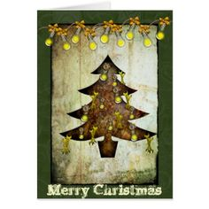 Steampunk Christmas Tree Holiday Card - click/tap to personalize and buy