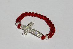 Christmas Red Sideways Cross Crystal stretch by rosepetalsjewelry, $18.00