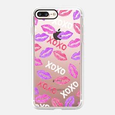 Casetify iPhone 7 Plus Case and other Lips iPhone Covers - Trendy Fun Watercolor Pink Purple Lips by BlackStrawberry | Casetify