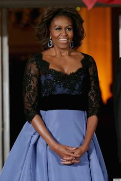 First Lady Michelle Obama word this stunning powder blue and black lace gown by Carolina Herrera for the annual State Dinner (11 Feb 2014)