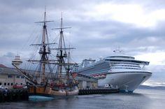 Panoramio - Photo of Old Sailing Craft and Modern Cruise Ship