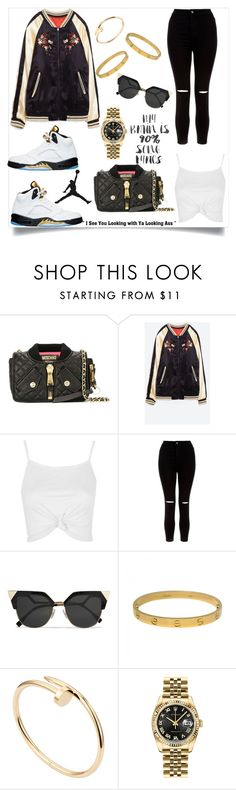"""""""🏆"""" by http-dejour ❤ liked on Polyvore featuring Moschino, Topshop, New Look, Fendi, Cartier and Rolex"""