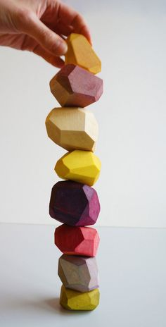 Gem-like building blocks made using salvaged wood and natural dyes. Kids would love these!