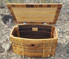 Bourbon Barrel Furniture, Wine Barrel Crafts, Barrel Projects, Pallet Boxes, Diy Desk, Hope Chest, Storage Chest, Decorative Boxes, Etsy