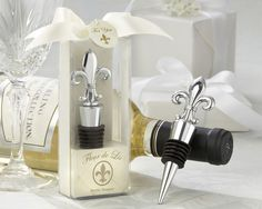 "Paris Theme - ""Fleur de Lis"" Elegant Chrome Bottle Stopper"