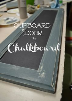 Cupboard Door Chalkboard – Red Cottage Chronicles I am loving my new Chalk Paint Cupboard Door Chalkboard. Who would of thought I was too intimated to try painting with chalk paint? I am hooked! Diy Cupboard Doors, Cabinet Door Crafts, Old Cabinets, Kitchen Cabinet Doors, Kitchen Cabinets, Cabinet Fronts, Painted Cupboards, Painted Doors, Diy Cupboards
