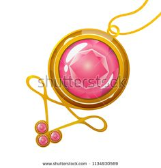 Vector cartoon pendant with gold-rimmed pink crystal gems. Perfect element for games or web design, isolated on white background.