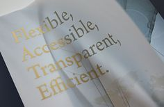 PEFCO Annual Report design close up of velum page.  #velum #foilstamp #translucent #design