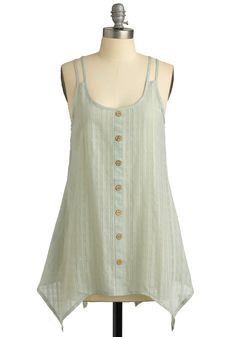 Afternoon Express Top - Green, Buttons, Cutout, Casual, Spaghetti Straps, Tank top (2 thick straps), Spring, Summer, Long, Boho