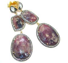$110.95 True+Drama+Queen!+Large+Untreated+Ruby+&+White+Topaz+Sterling+Silver+earrings at www.SilverRushStyle.com #earrings #handmade #jewelry #silver #ruby