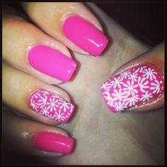Pink bio sculpture nails with flowers! Pink Summer, Summer Flowers, Bio Sculpture Nails, Gel Overlay, Flower Nails, Nails Inspiration, Nailart, Nail Polish, Hair