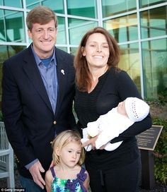 Patrick with his wife, Amy and stepdaughter, Harper Petitgout, then 4, on the birth of his first child, Owen Patrick, in April 2012